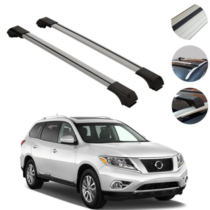 Omac usa - Roof Racks Cross Bars Rails Alu. SILVER SET 2Pc for Nissan Pathfinder 2005-2012 - Omac Shop Usa - Auto Accessories