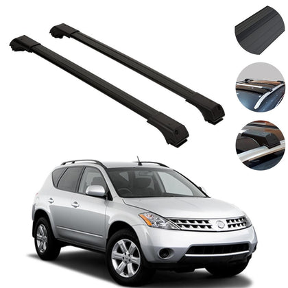 Roof Rack Cross Bars Luggage Carrier Black for Nissan Murano 1 2003-2008