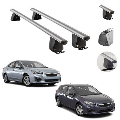 Silver Fixed Point Cross Bar Roof Rack Carrier Rail For Subaru Impreza 2017-2021