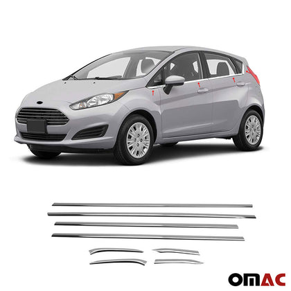 Fits Ford Fiesta 2011-2020 Chrome Lower Window Frame Trim Stainless Steel 8 Pcs