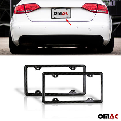2 Pcs Real Carbon License Plate Frame Rear & Front Tag Holder For Nissan Armada