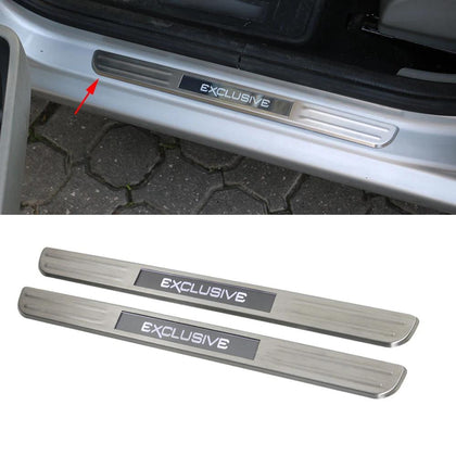 Fits Hyundai Accent 2012-2017 LED Chrome Door Sill Protector Brushed Steel 2 Pcs Omac Shop Usa - Auto Accessories
