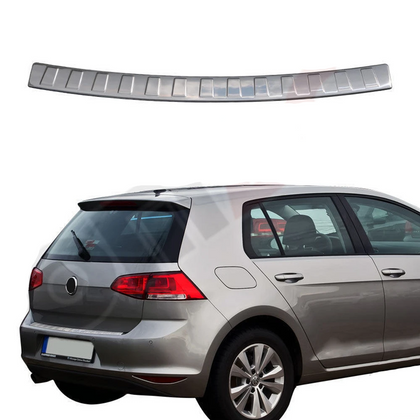 Fits VW Golf Mk7 2015-2020 Chrome Rear Bumper Guard Trunk Sill Protector S.Steel Omac Shop Usa - Auto Accessories