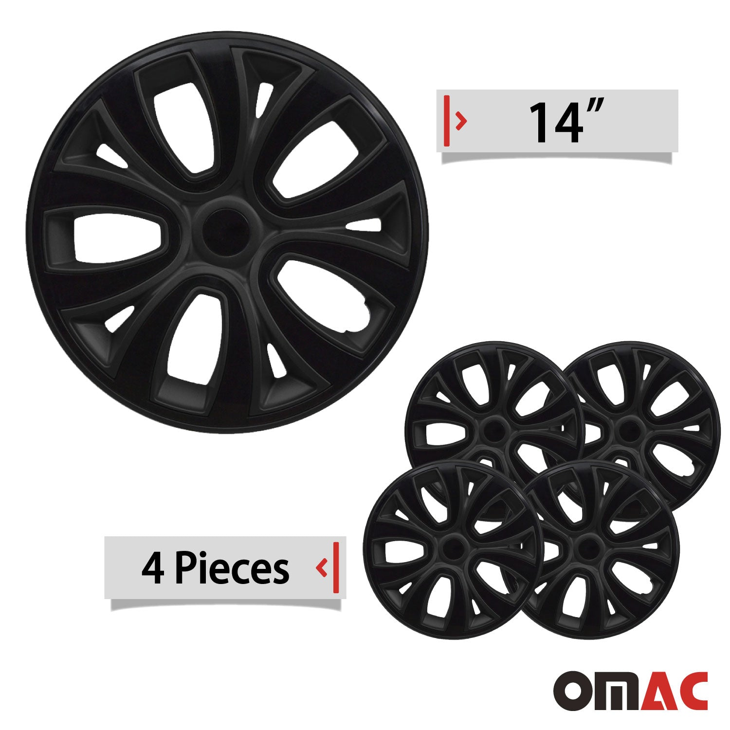 "Hubcaps 14"" Inch Wheel Rim Cover Matt Black with Black Insert 4pcs Set"