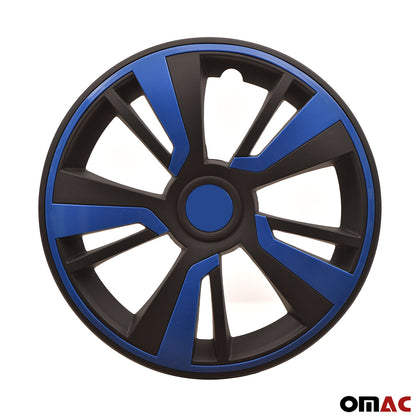 16'' Hubcaps Wheel Rim Cover Matt Black with Dark Blue Insert 4pcs Set