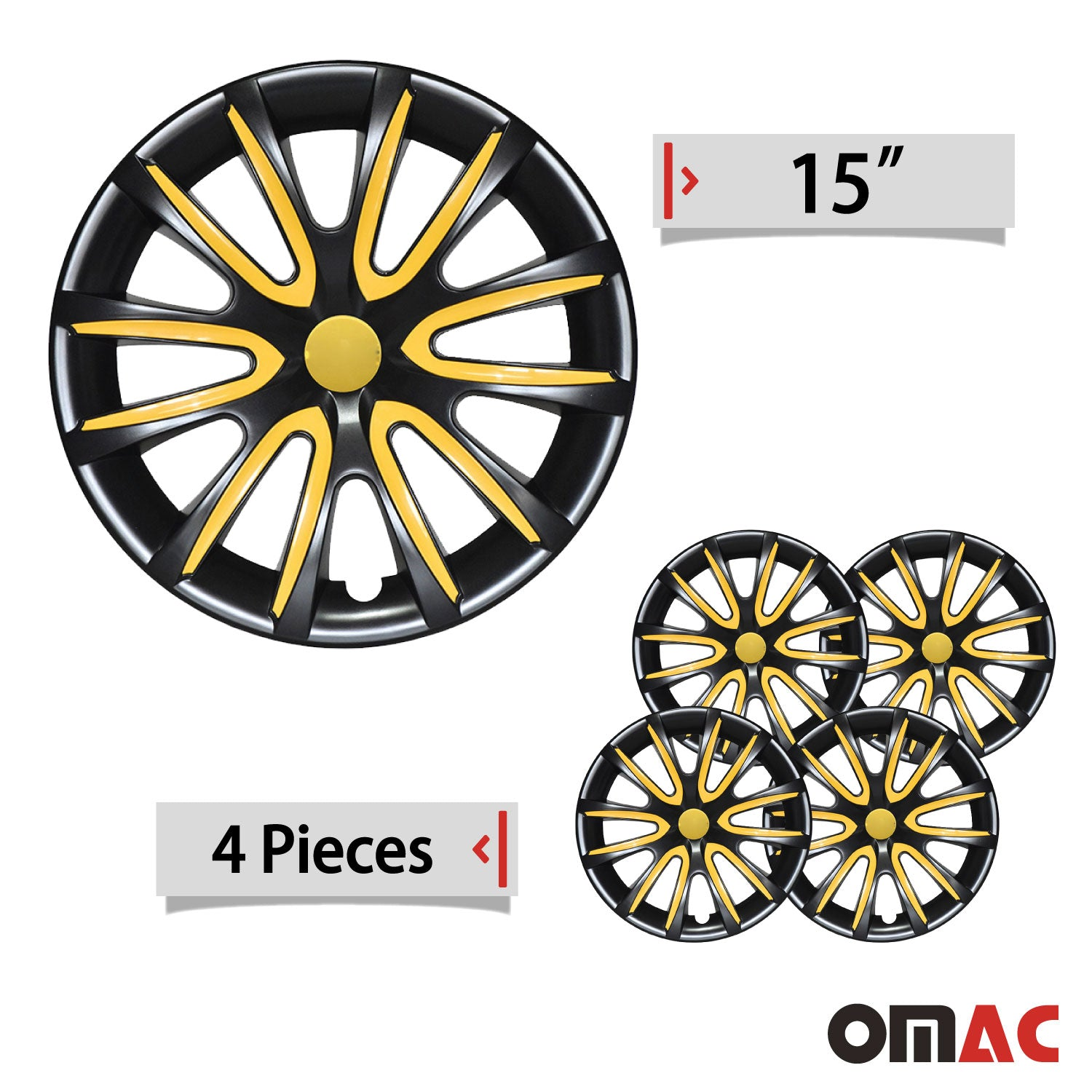 "15"" Inch Hubcaps Wheel Rim Cover Glossy Black with Yellow Insert 4pcs Set"