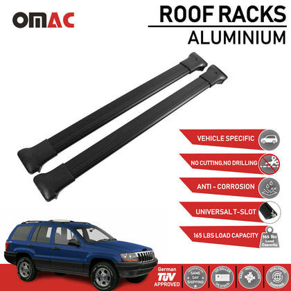 Roof Rack Cross Bars Luggage Carrier Black for Jeep Grand Cherokee WJ 1999-2004