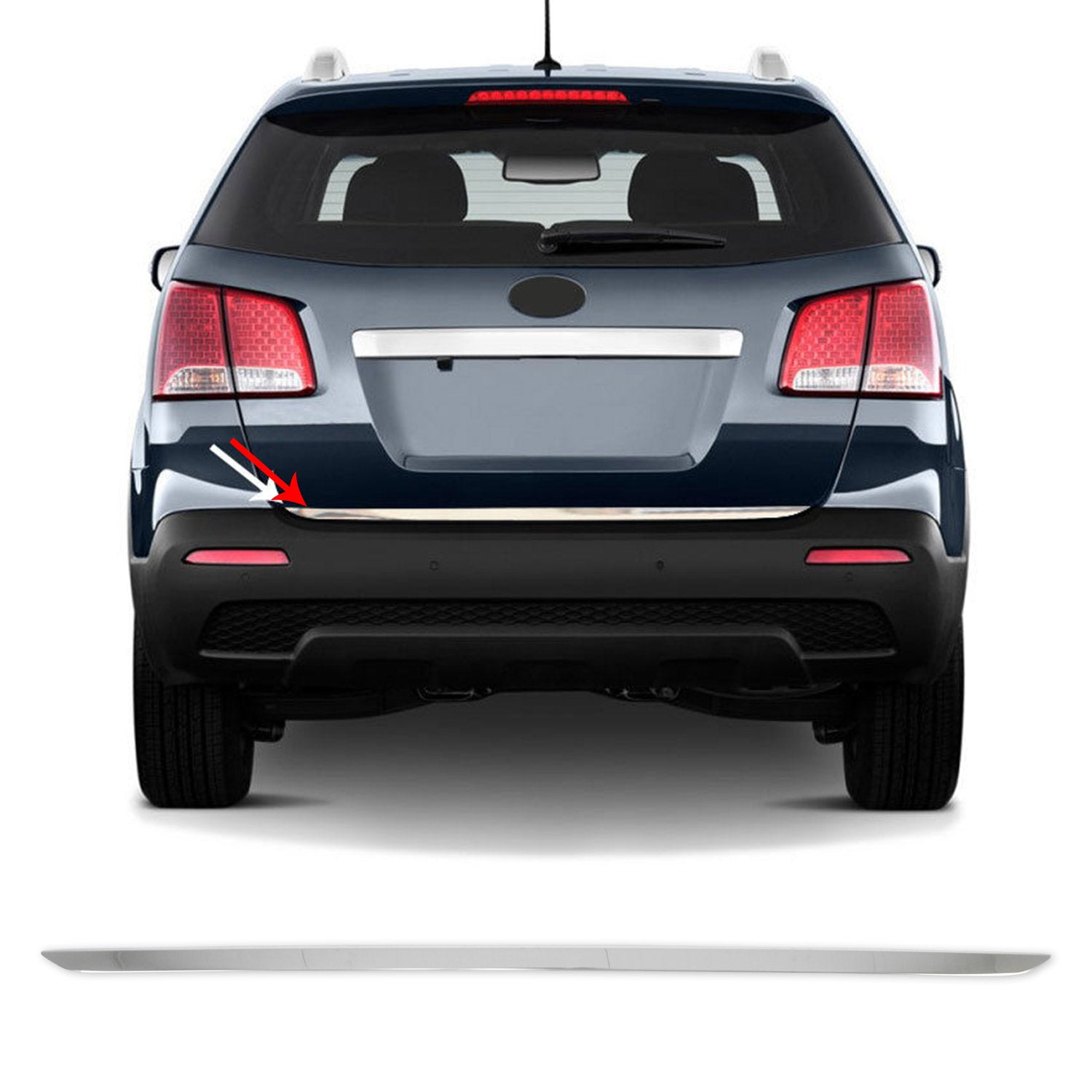 Chrome Lower Tailgate Trim Trunk Door Streamer S.Steel For Kia Sorento 2011-2013