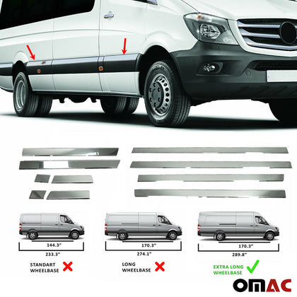 Fits Mercedes Sprinter 2006-2018 Chrome Side Door Trim Streamer Extra Long 170