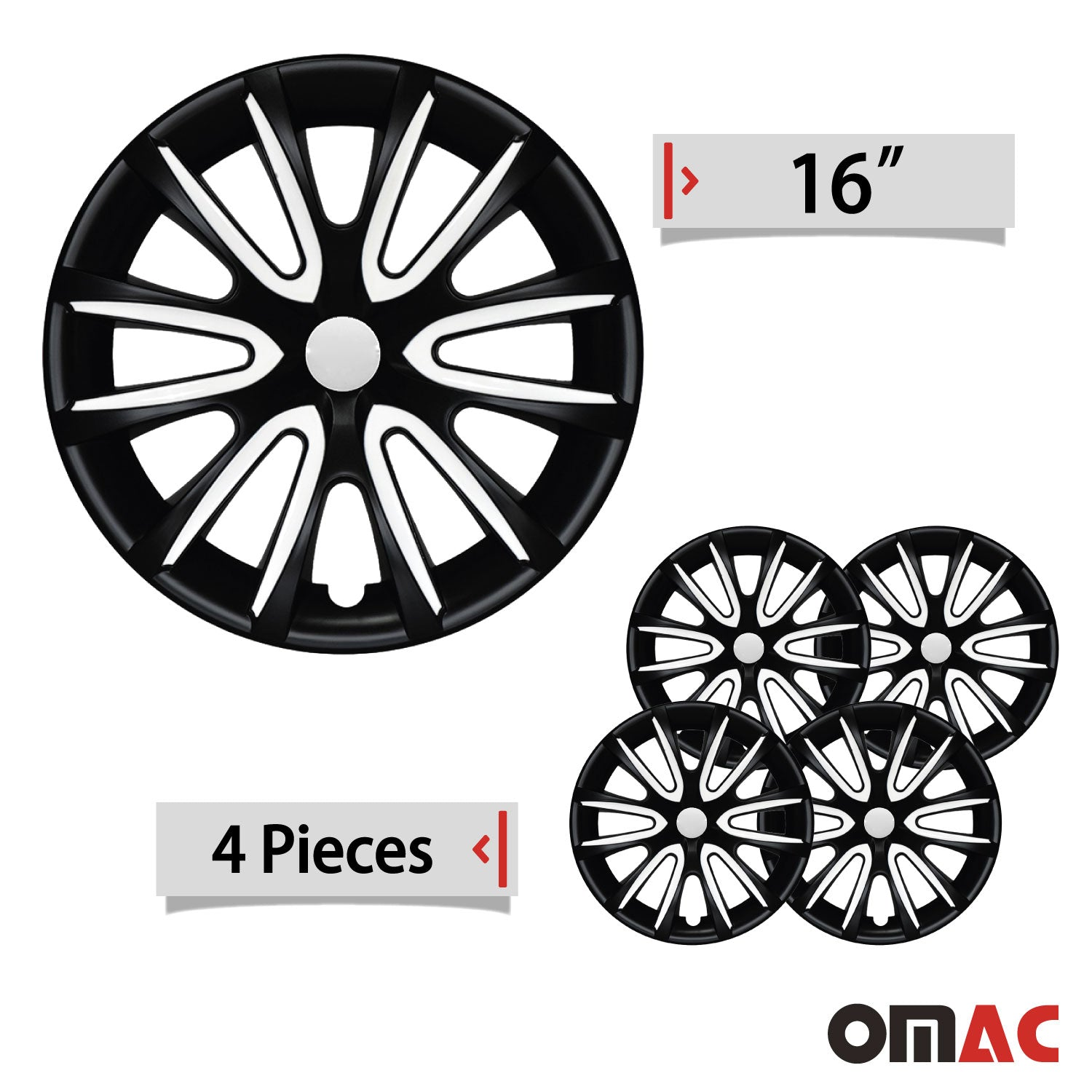 "16"" Inch Hubcaps Wheel Rim Cover Matt Black with White for Ram ProMaster Set"