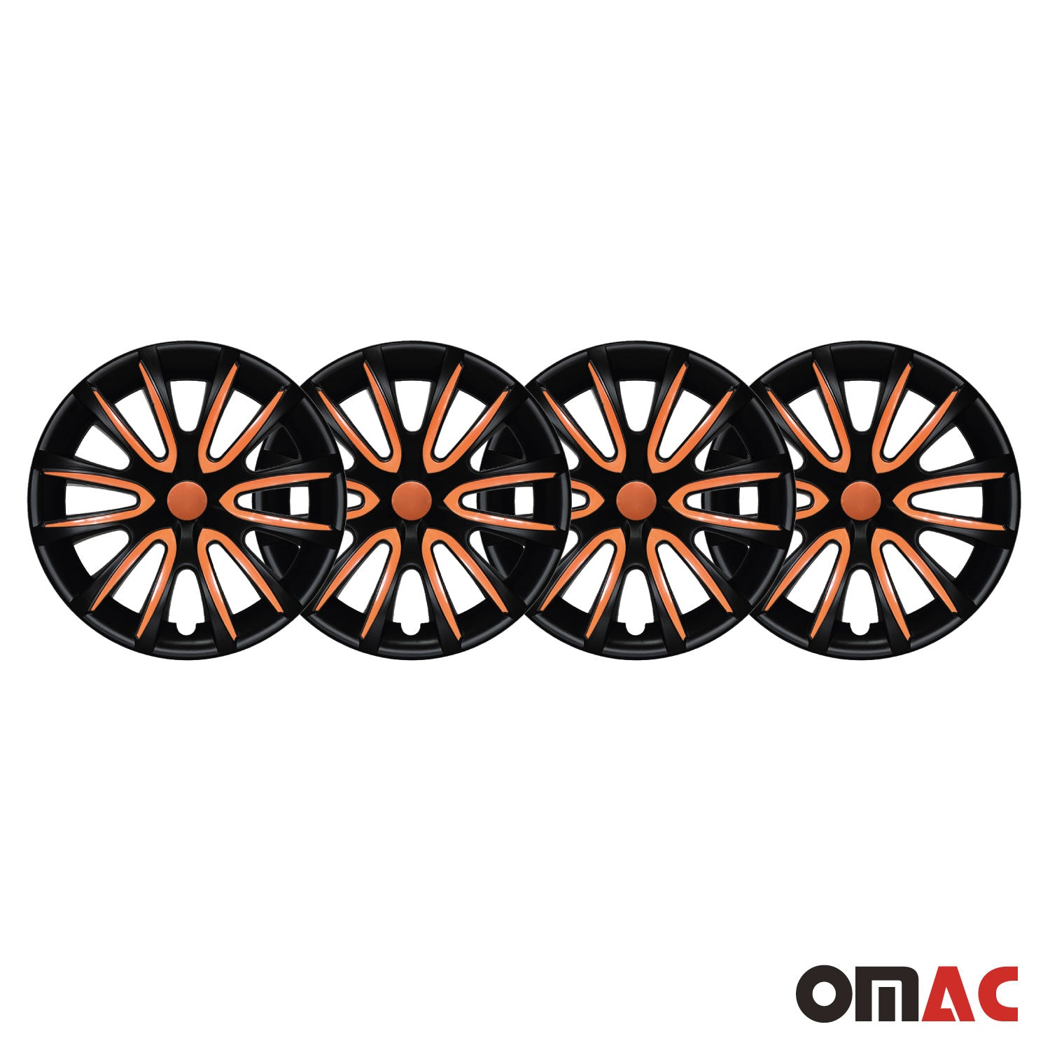 "16"" Inch Hubcaps Wheel Rim Cover Matt Black with Orange for Jeep Renegade Set"