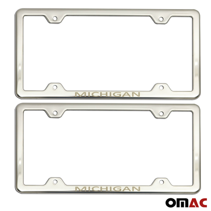 MICHIGAN Print License Plate Frame Chrome S. Steel 2 Pcs For Nissan Rogue