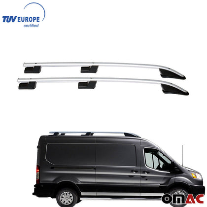 Omac usa - FORD TRANSIT 2014-18 Roof Racks Rails Side Bars Alu Silver SET 2Pcs Regular WB - Omac Shop Usa - Auto Accessories