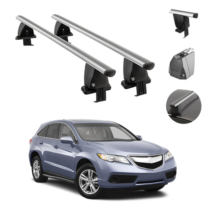Silver Smooth Roof Rack Cross Bar Luggage Carrier 2 Pcs For Acura RDX 2013-2018