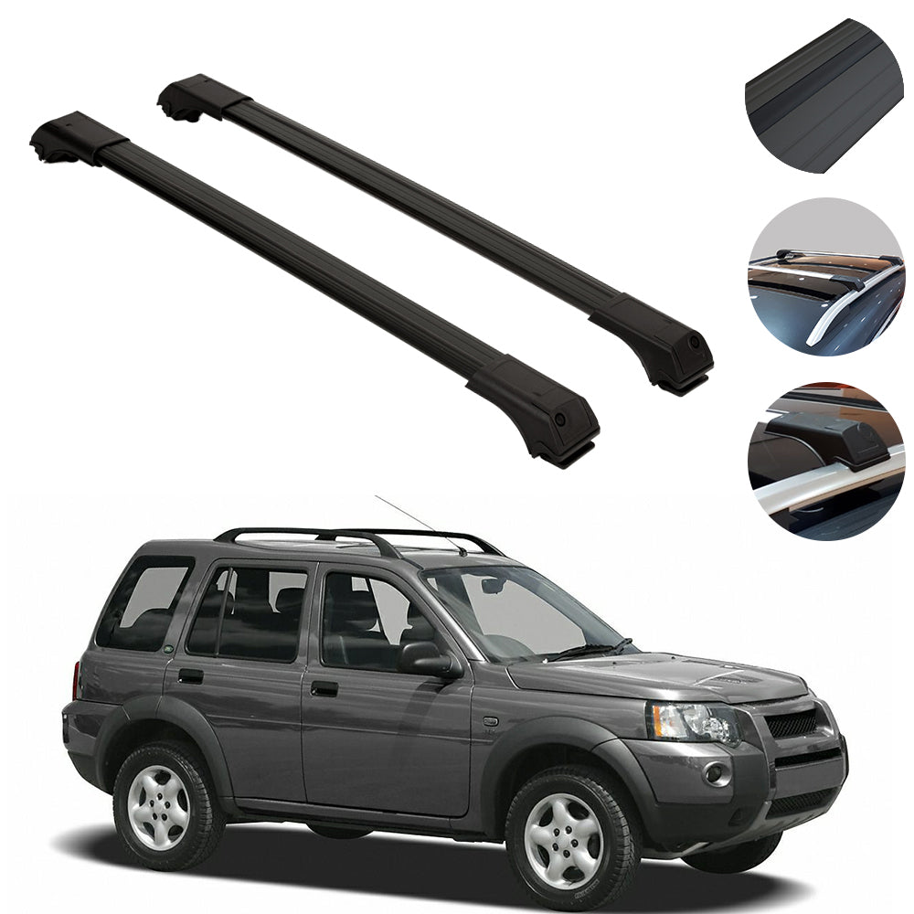 Roof Rack Cross Bars Luggage Carrier Black for Land Rover Freelander 1997-2006