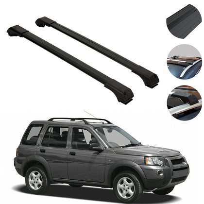 Omac usa - Land Rover Freelander 1997-2006 Roof Racks Cross Bars Cross Rails Alu. BLACK SET - Omac Shop Usa - Auto Accessories