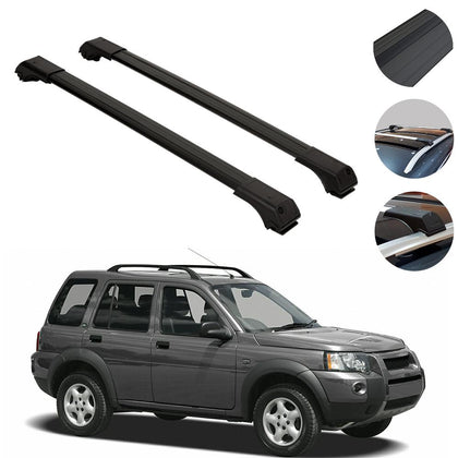 Roof Rack Cross Bars Luggage Carrier Black fits Land Rover Freelander 1 1998-07