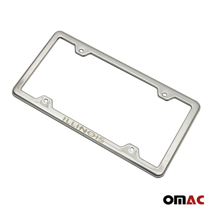 ILLINOIS Print License Plate Frame Tag Holder Chrome S. Steel Fits Audi Q7