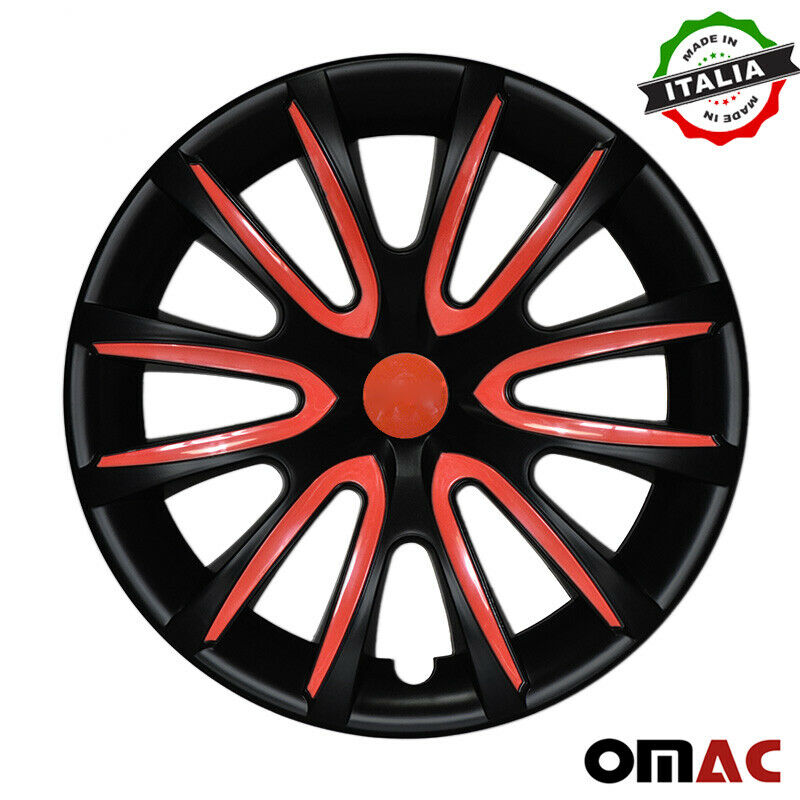 "16"" Inch Hubcaps Wheel Rim Cover Matt Black with Red for Ford Mustang Set"