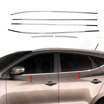 Fits Hyundai Tucson 2010-2015 Chrome Window Frame Trim Overlay Steel 6 Pcs Omac Shop Usa - Auto Accessories