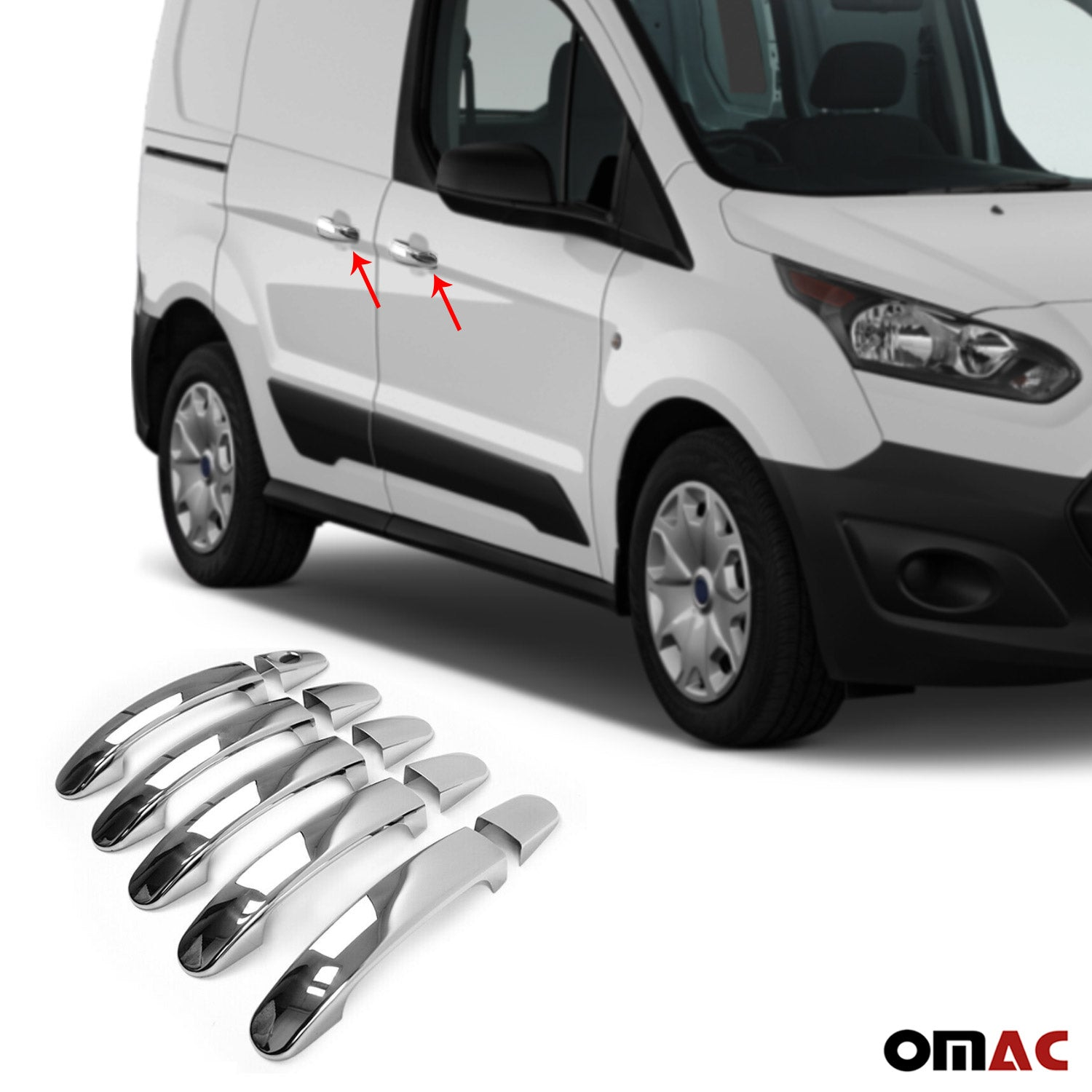 For Ford Transit Connect 2014-2020 Chrome Door Handle Cover Trim S.Steel Keyless