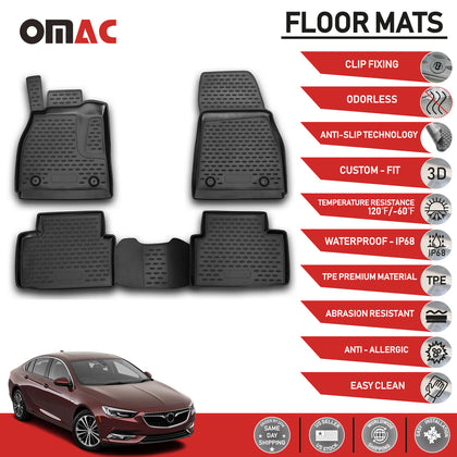 Floor Mats Liner 3D Molded Black Set Fits Buick Regal 2011-2017