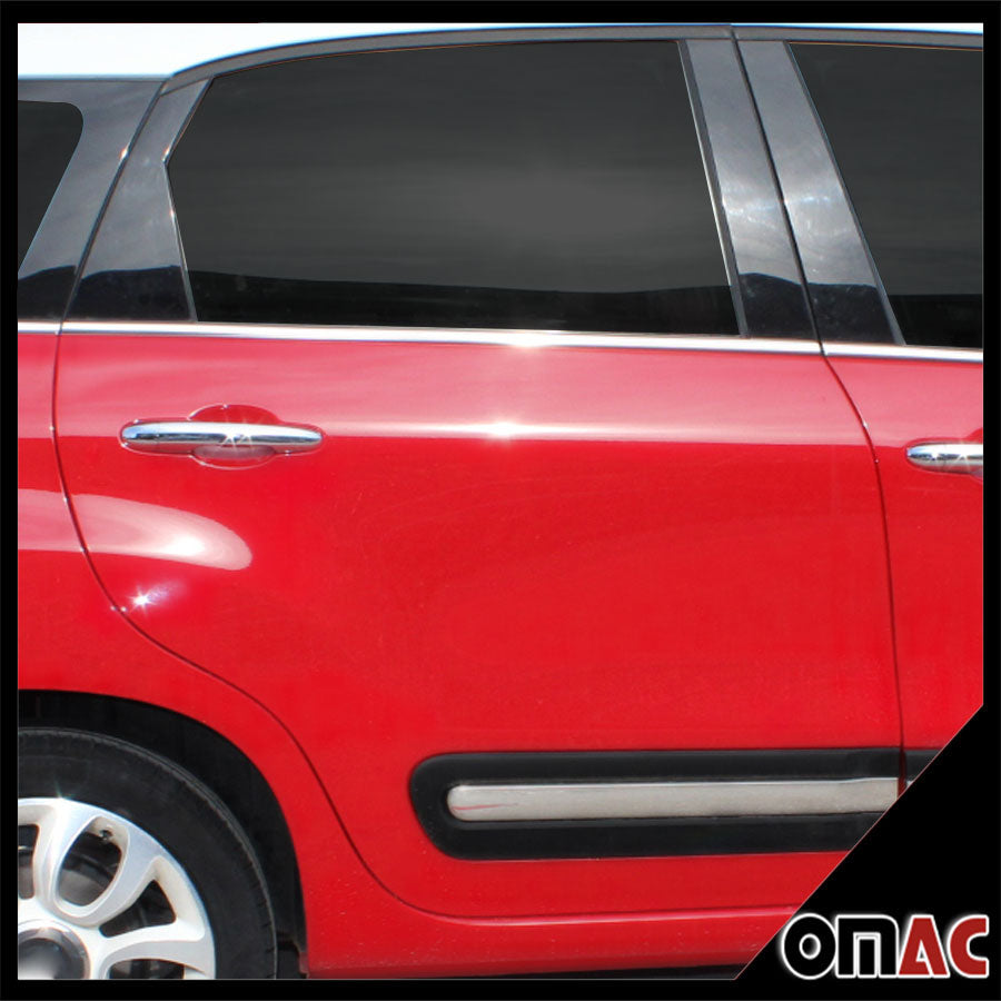 Fits Fiat 500L 2013-2018 Chrome Window Sill Overlay Cover Trim Set 6 Pcs. Steel