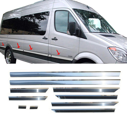 Fits Mercedes Sprinter 2006-2018 Chrome Side Door Trim Streamer Long (170