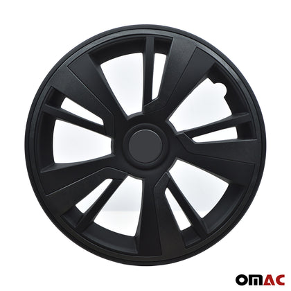 16'' Hubcaps Wheel Rim Cover Matt Black with Dark Grey Insert 4pcs Set