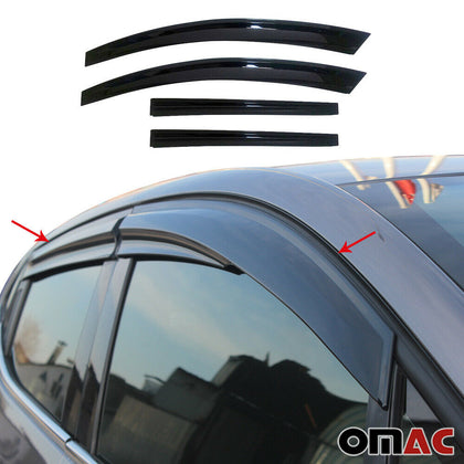 Window Visor Vent Sun Shade Rain Guard 4pcs Fits Hyundai Tucson 2010-2015