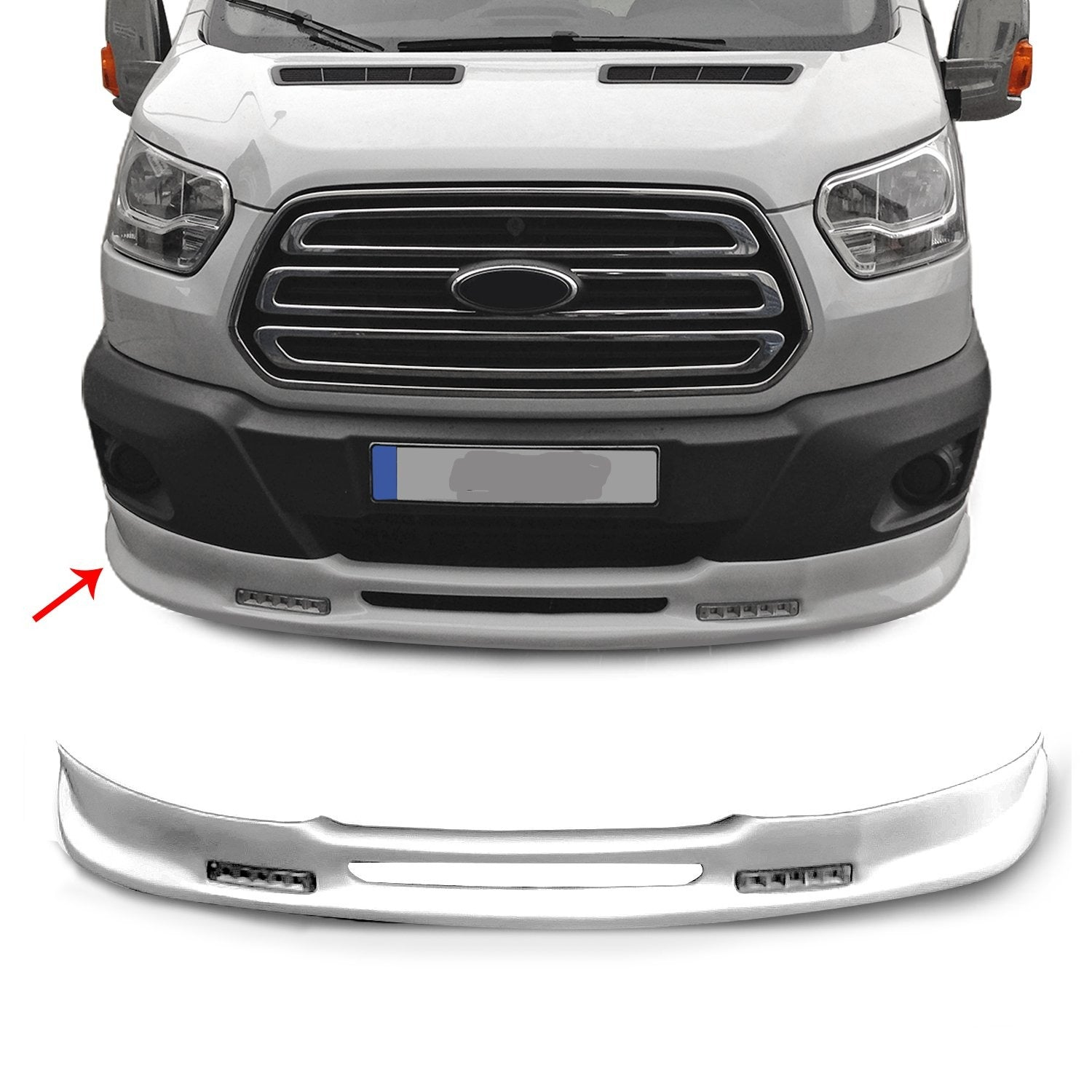 Front Bumper Lip Spoiler Body Kit Primed Paintable for Ford Transit 2014-2019