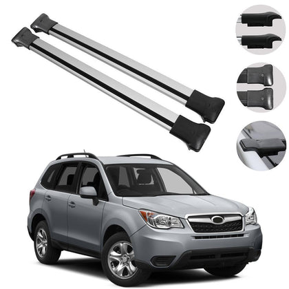 Roof Rack Cross Bars Luggage Carrier Silver fits Subaru Forester 2014-2018
