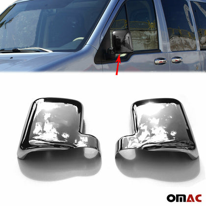 Dark Chrome Side Mirror Cover Cap 2 Pcs For Ford Transit Connect 2002-2009