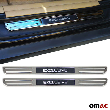 For Mercedes-Benz E-Class Exclusive LED Door Sill Cover Scuff Plate Steel 2Pcs