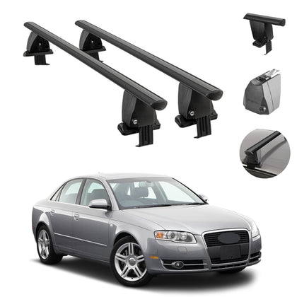 Fits Audi A4 Sedan 2005-2008 Smooth Top Roof Rack Cross Bar Carrier Rail Black