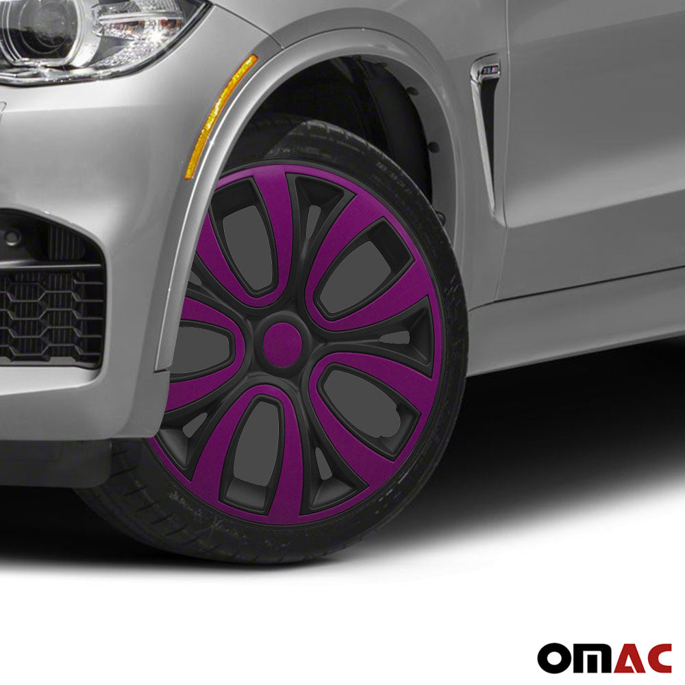 "Hubcaps 14"" Inch Wheel Rim Cover Matt Black with Violet Insert 4pcs Set"