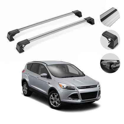 Luggage Roof Rack Rail Cross Bar 2 Pcs Silver Aluminum For Ford Escape 2013-2019