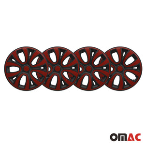 "Hub Cap 14"" Inch Wheel Rim Cover Matt Black with Red Insert 4pcs Set"