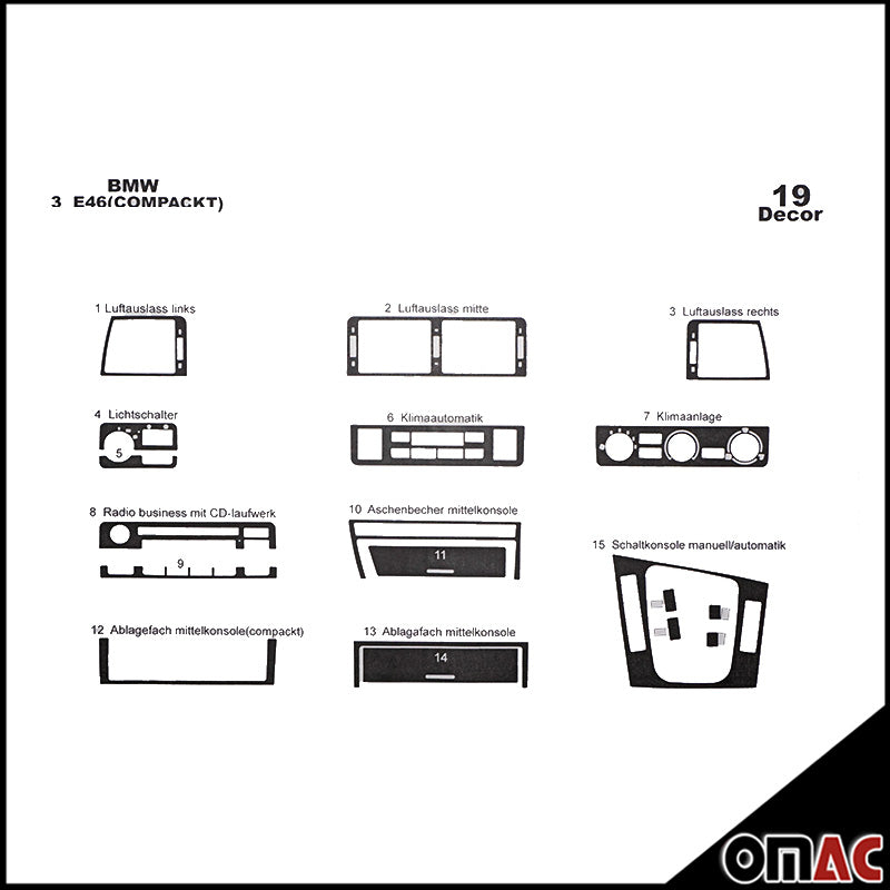 BMW 3 SERIES E46 1998-2005 Compact Dash Board Trim Kit Cover 19 Pcs. Carbon Look