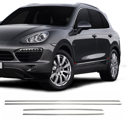 Fits Porsche Cayenne 2003-2018 Chrome Side Door Trim Streamer S.Steel 4 Pcs