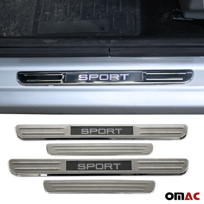 Chrome Door Sill Cover Illuminated Sport Scuff Plate 4 Pcs for Nissan Pathfinder