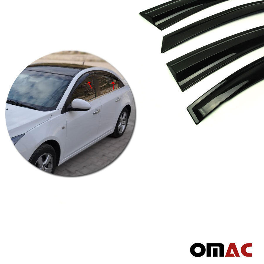 Window Visor Vent Sun Shade Rain Guard 4pcs Fits Chevrolet Cruze 2011-2015