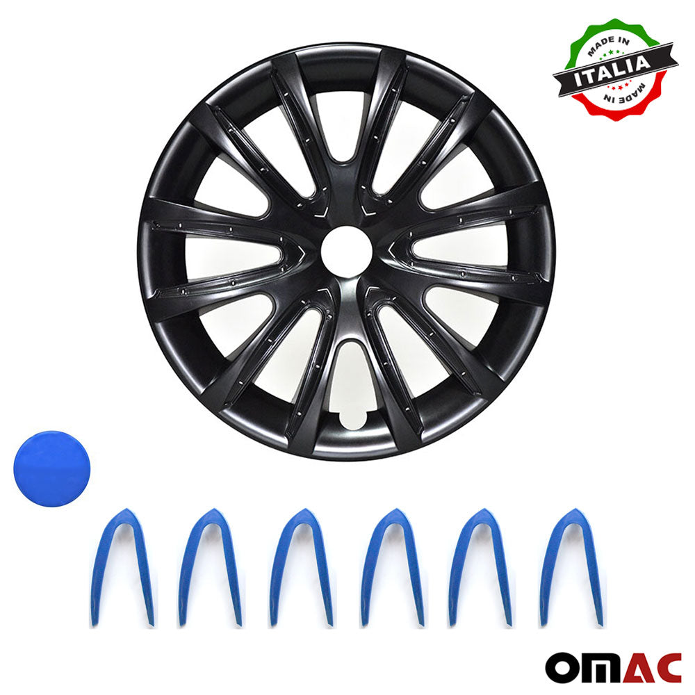 "14"" Inch Hubcaps Wheel Rim Cover Matt Black with Dark Blue Insert 4pcs Set"