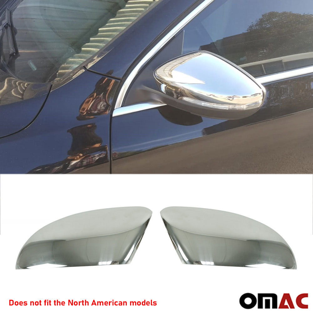 Fits VW CC 2009-2015 Chrome Side Mirror Cover Cap Stainless Steel 2 Pcs