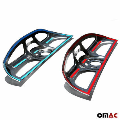 Dark Chrome Stop Brake Light Frame 2 Pcs For  Fiat Doblo 2010-2014