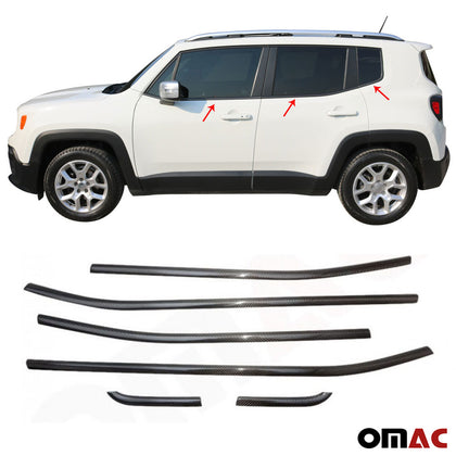For JEEP Renegade 2019-2020 Genuine Carbon Fiber Window Frame Trim Cover 6 Pcs