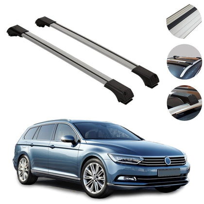 Roof Rack Cross Bars Luggage Carrier Silver for VW Passat B7 Wagon 2010-2015