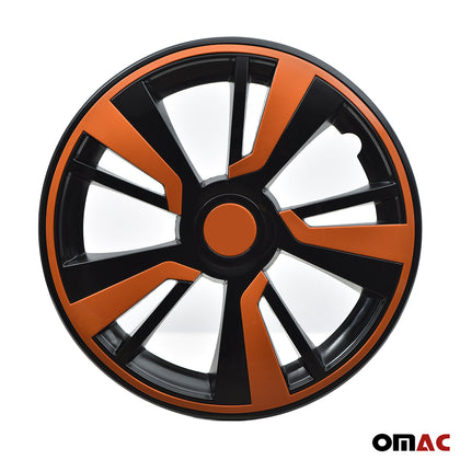 15'' Hubcaps Wheel Rim Cover Black with Orange Insert 4pcs Set