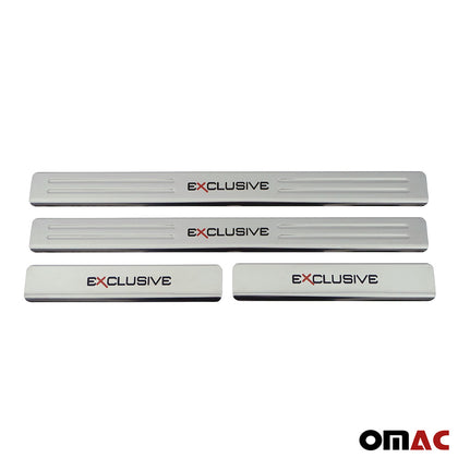 Chrome Door Sill Plate Cover Trim Exclusive Embossed 4 Pcs For Volkswagen Jetta