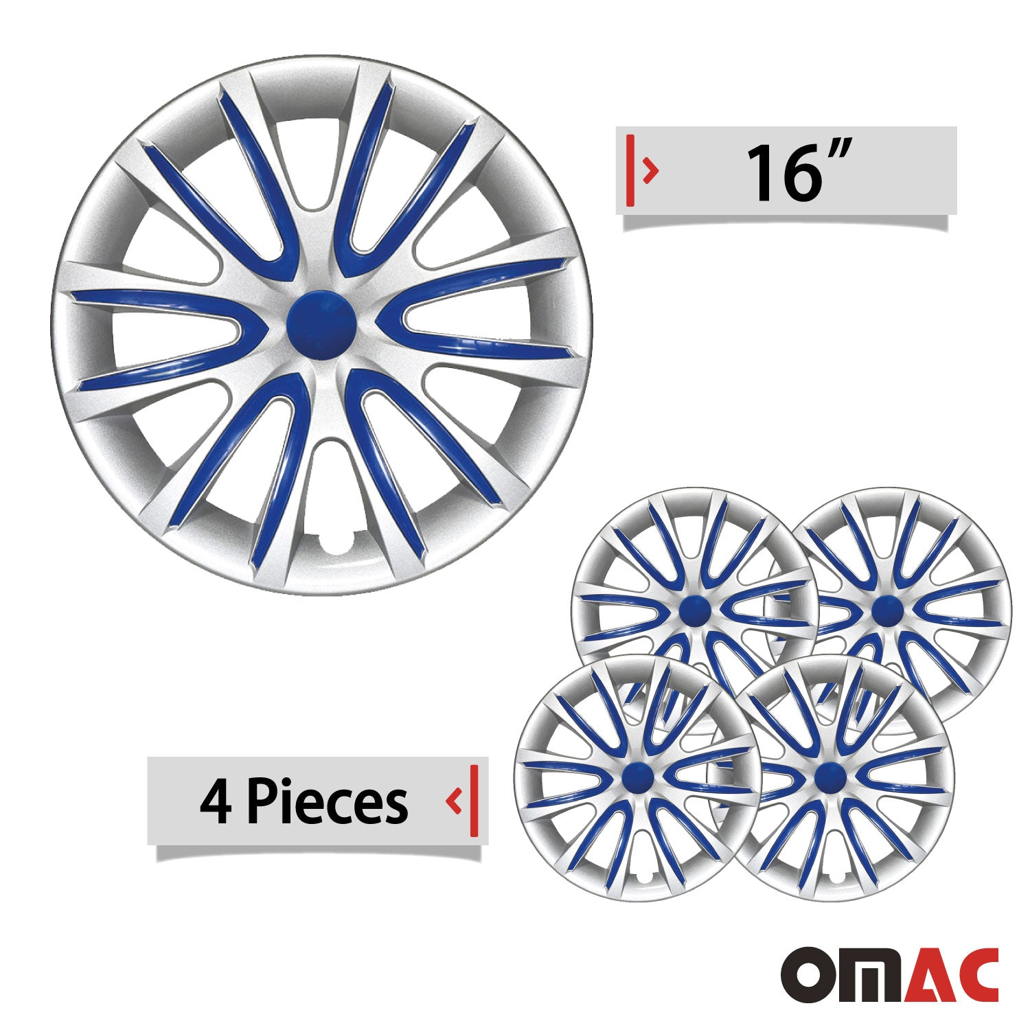 "16"" Inch Hubcaps Wheel Rim Cover Gray with Dark Blue For Jeep Wrangler Set"